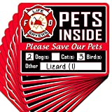 Signs Authority 10-Pack Stylish Pet Rescue Stickers Decals for House Windows Doors | 5' x 4' Made with Premium All Weather Vinyl Material | Alert Rescue Team in Case of Fire Or Emergency