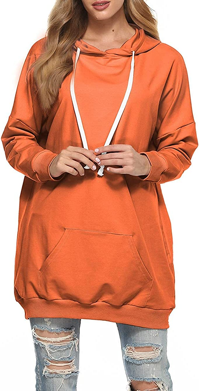 Famulily Womens Oversized Hoodie Extra Long Hooded Tunic Sweatshirt with Pockets