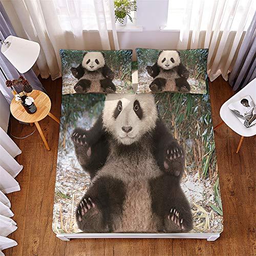 Oduo Juegos de Sábanas y Fundas de Almohada, Microfibra Sábana Bajera Ajustable Profundo 30cm con 2 Fundas de Almohada para Cama Individual o Matrimonial (Panda Negro,140x200x30cm)