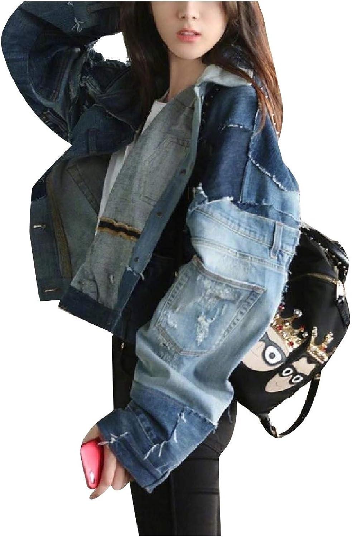 Abetteric Women Patchwork Raw Hem Fashional Long Sleeve Cropped Denim Jackets