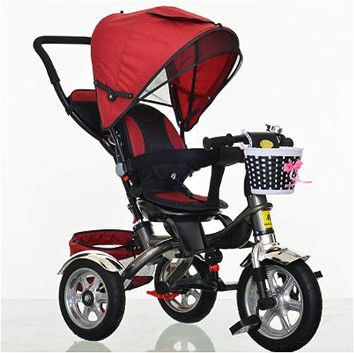 más descuento YINGH 4-en-1 del Triciclo del bebé bebé bebé Trike, Steer Cochecito, Aprendizaje Bicicletas w Desmontable de barandas, Dosel Ajustable, arnés de Seguridad, Bolsa de Almacenamiento, Freno  diseño simple y generoso