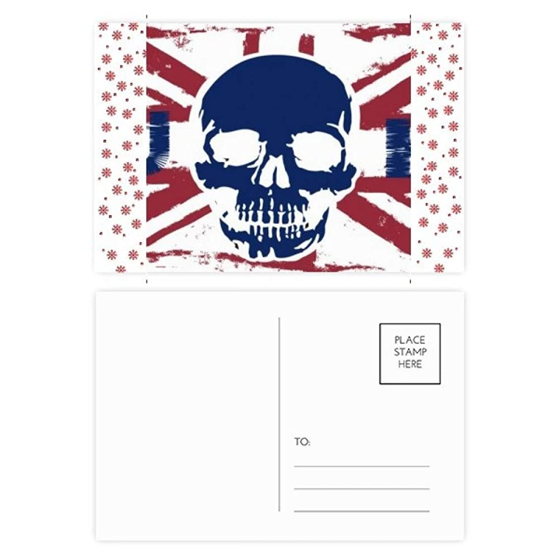 咽頭学習セールスマン人間の骨格の英国のユニオンジャック英国旗のマークパターンのランドマークのイラスト クリスマスの花葉書を20枚祝福する