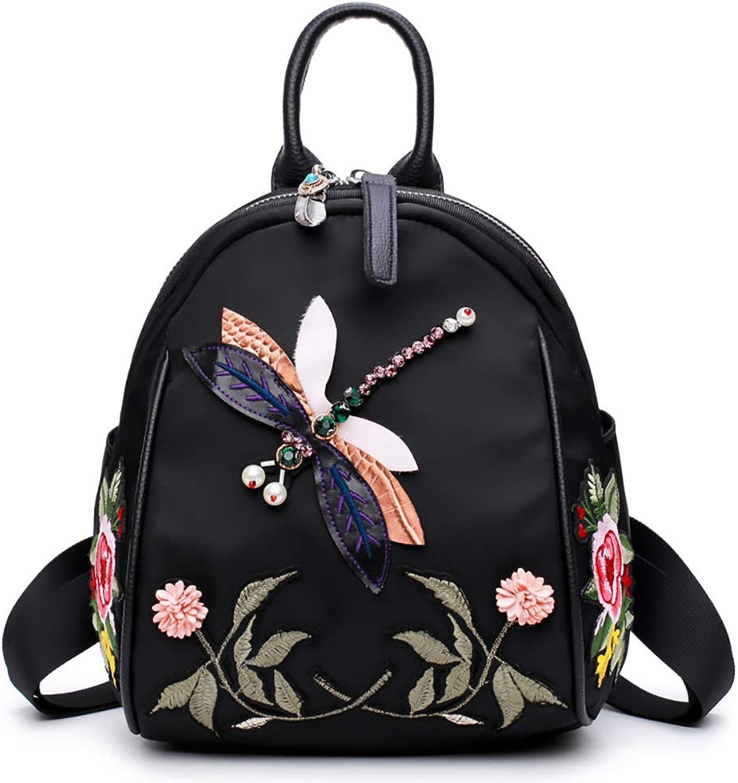 Bagood Fashion Oxford Cloth Shoulder Bag Hand Embroidery Dragonfly Rucksack Women Girls Backpack
