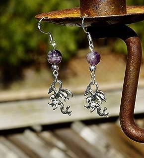 Amethyst Stone Welsh Dragon Tibetan Silver Charm Earrings