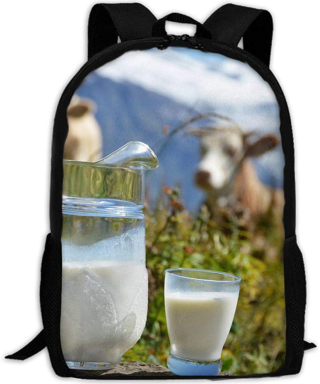 Backpack Briefcase Laptop Travel Hiking School Shoulder Bags Milk Nature Cows Daypack