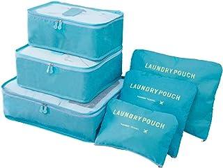 مجموعة من 6 قطع من حقائب وكيوب التخزين لتنظيم الأمتعة وملابس السفر وملابس الغسيل بتصميم مقاوم للماء