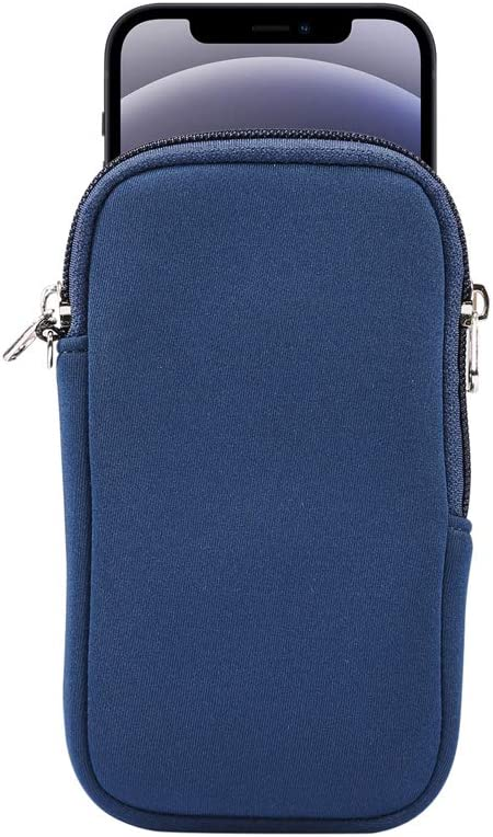 Small Cell Phone Sleeve Case Neoprene Shock Absorbing Proof Pouch Skin Cover w Neck Strap for iPhone 12 Mini,11 Pro,XS,X,8,SE 2020/ Galaxy A01 S10e A10e A20e/ Pixel 4a,Pixel 5,4,3/ Moto G7 Play (Blue)