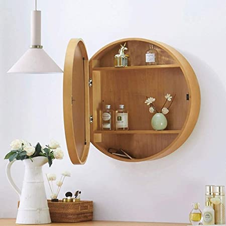 SDK Round Bathroom Mirror Cabinet, Bathroom Wall Storage Cabinet Mirror Medicine Cabinet with Slow-Close Wooden Frame 3 Level (Color : Wood Color, Size : 50CM)