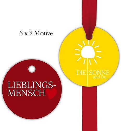 10x12 sonnige, runde Geschenkanh er   Geschenkkarten   Papieranh er   Etiketten in Kreis Form Format 6,6 x 6,6cm mit Herz, auf rot und gelb  Lieblingsmensch   Die Sonne und Du...