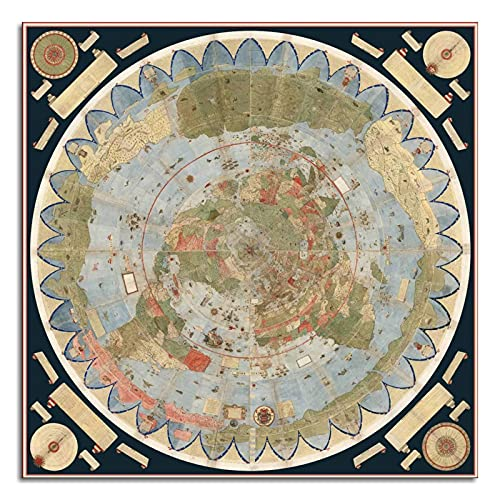 Flat Earth Map Of The World 1587 Urbano Monte Poster Art Globe Canvas Prints Poster Wall Art For Home Office Decorations Unframed 24'x24'