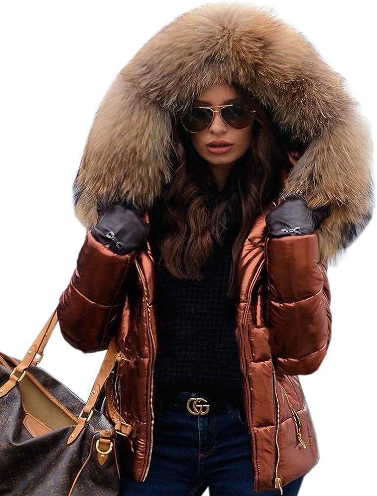 Aofur Womens Casual Jackets Winter Trench Coats Fur Collar Hooded Zipper Down Parkas