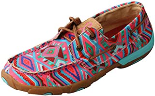 Twisted X Women's Multicolored Handcrafted Boat Shoe Driving Moc