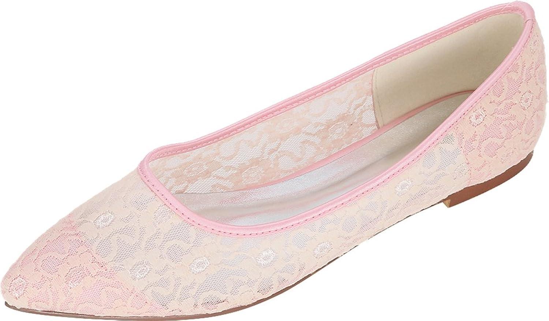 Salabobo 2046-14E Womens Comfort Bride Bridesmaid Party Prom Wedding Dress Work Comfort Flats Pointed Toe Mesh Pumps