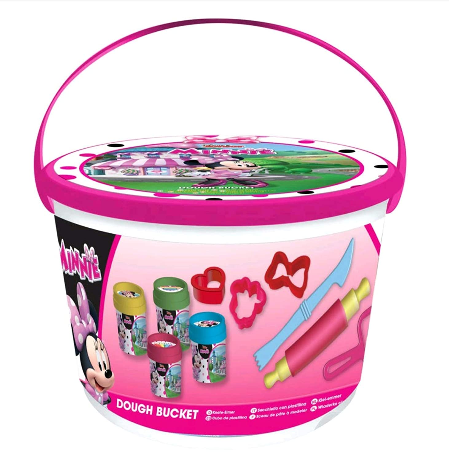 Sambro Disney CUBO PLASTILINA Deluxe DE Minnie Mouse Fun Filled Dough Bucket Perfect Birthday,, Arts and Crafts for Kids, Multicolour