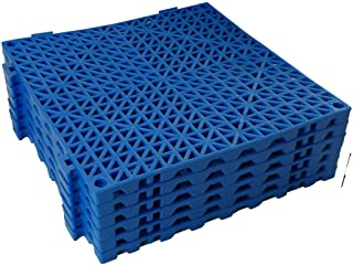 VinTile Modular Interlocking Cushion Floor Tile Mat Non-Slip with Drainage Holes for Pool Shower Locker-Room Sauna Bathroom Deck Patio Garage Wet Area Matting (Pack of 6 - 11-3/4