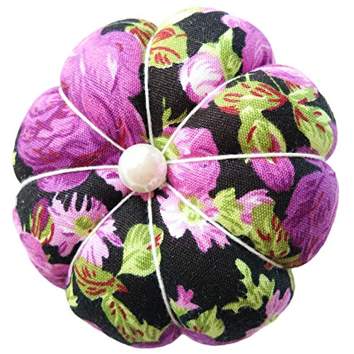 CUSHYSTORE Purple on Black Floral Flower Wrist Pin Needle Cushion Pincushion for Sewing with Adjustable Elastic Strap Sewer Gift