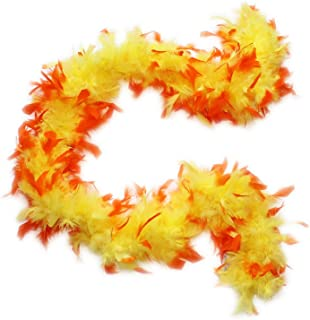 red and yellow feather boa