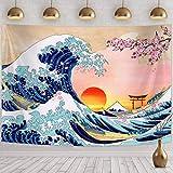 Arazzo da Appendere a Parete Onda Giapponese Arazzo da Muro Onda Larga Decorazione Murale Onda Kanagawa con Tramonto Fiore di Ciliegio Arte Nature per Camera (78,7 x 59,1 Pollici)