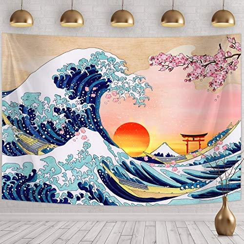 Tapiz Japonesa Colgante de Onda de Pared Tapiz de Pared de Gran Ola Decoración de Pared de Ola de Kanagawa con Arte Naturaleza de Puesta de Sol Flor de Cerezo (59,1x 51,2 Pulgadas)