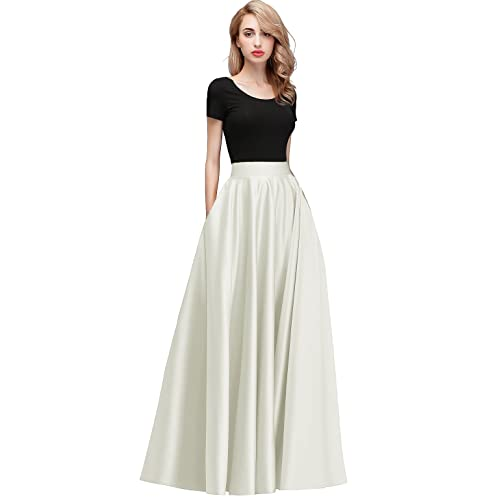 755d2f51e7 Honey Qiao Women s Satin Long Floor Length High Waist Fomal Prom Party  Skirts with Pockets