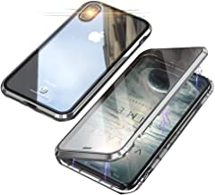 Compatible with iPhone Xs Max (6.5 inch) Case, Jonwelsy 360 Degree Front and Back Transparent Tempered Glass Cover, Strong Magnetic Adsorption Technology Metal Bumper (Silver)