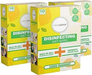 Greenbrrew Hand Sanitizing Disinfectant Wet Wipes Kills 99.9% Germs, Bacteria & Viruses (Lemon, Pack Of 3 X 10 Sachets)