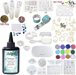 Crystal Clear UV Resin 100ML 22 Molds 17 Open Back Bezels + Glitter + Mini UV Lamp, Jewelry Making Resin Crafts Kit for Pendants Bracelets Diamonds Earrings Rings Snowflakes Shells, Resin for Coating