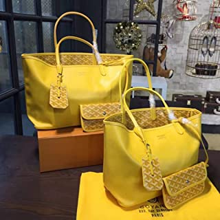Double-sided Leather Large Capacity/Shopping Bag/Shoulder Travel Bag. jszzz (Color : Yellow)