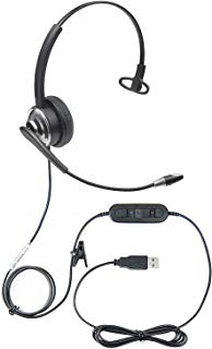 ECS WordCommander USB Voice Recognition Dictation Headset with Noise Cancellation Microphone