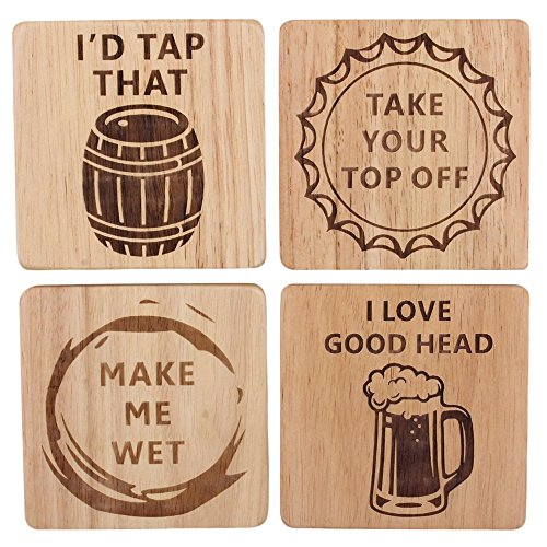 Funny Beer Coasters Set of 4 Wood Square Drink, Home Bar, Brewery Gifts, Wooden Coasters, Housewarming Gift