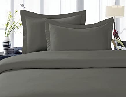 Elegant Comfort 1500 Thread Count Egyptian Quality 3 Piece Wrinkle Free and Fade Resistant Luxurious Duvet Cover Set,  Full/Queen,  Gray