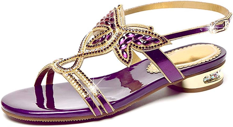 Women's Rhinestone Sandals Leather Open Toe Slip Flats Beach Vacation Beach shoes Summer New Bohemia