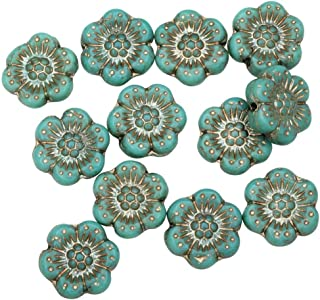 Raven's Journey Czech Glass Beads, Wild Rose Flower 12.5mm, Turquoise Opaque with Platinum Wash, 1 Strand
