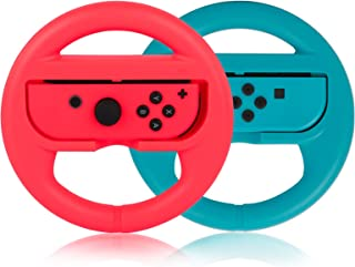 Steering Wheel for Nintendo Switch Controller, PowerLead 2 PCS Racing Wheel Compatible with Mario Kart, Game Controller Wh...