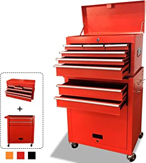 2 in 1 Portable Tool Box Rolling Tool Chest on 4 Wheels,Toolbox Equipped with 2 Locks, 8-Layer Tool Organizer,Multifunctional Tool Cabinet,Gift for Craftsman,Red