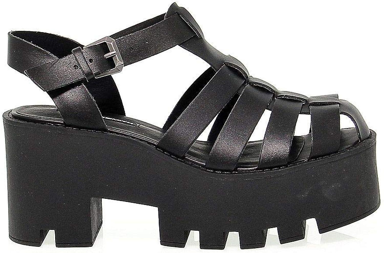 WINDSOR SMITH Women's WINDFLUFFYBLACK Black Leather Sandals