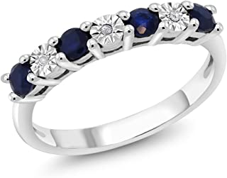 Gem Stone King 925 Sterling Silver Round Sapphire and White Diamond Women's Engagement Ring (Available 5,6,7,8,9)