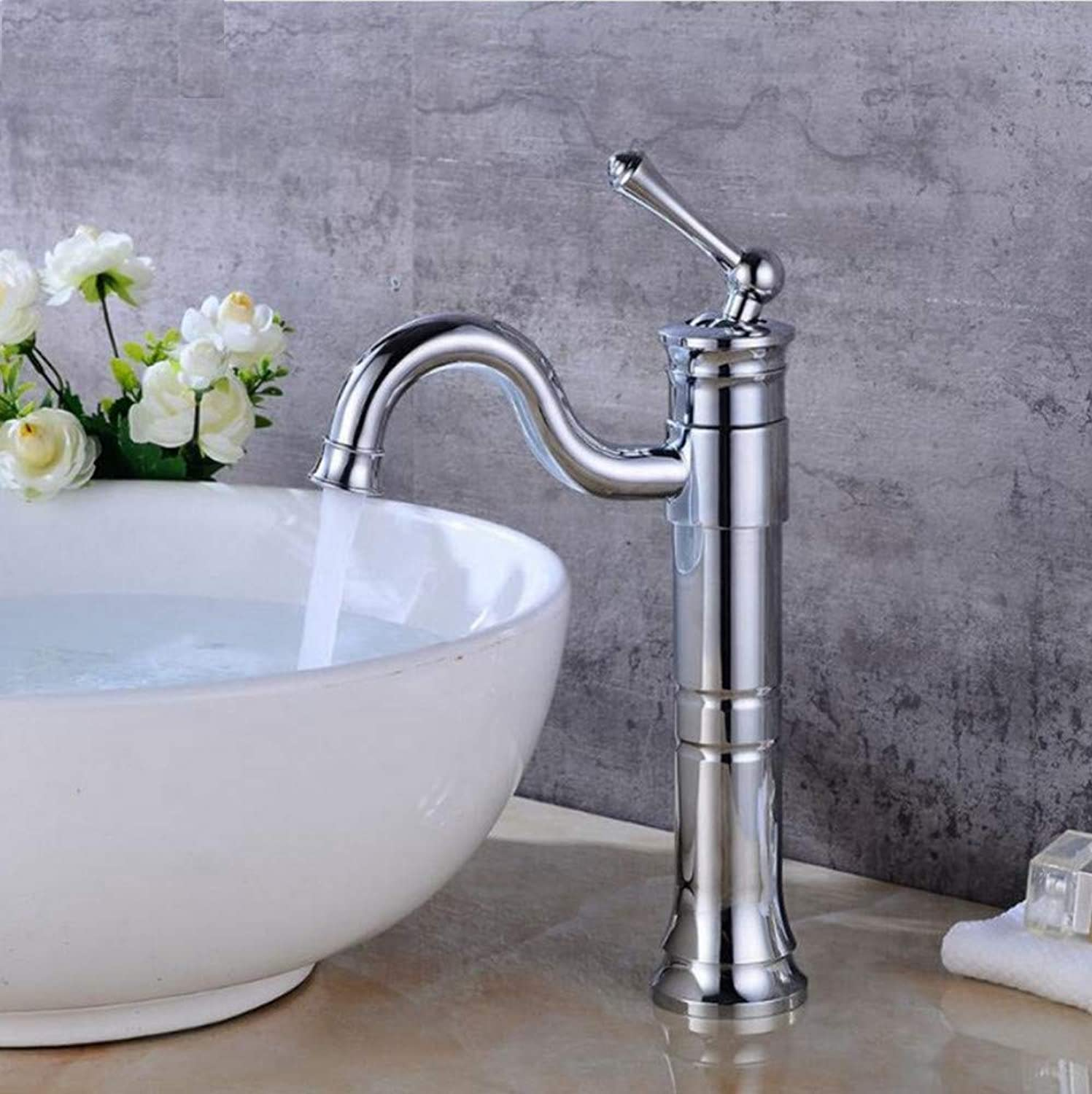 Dwthh Bathroom Tall Basin Sink Faucet Hot and Cold Water Mixer Crane Antique Bronze Faucets Deck Mounted Single Handle
