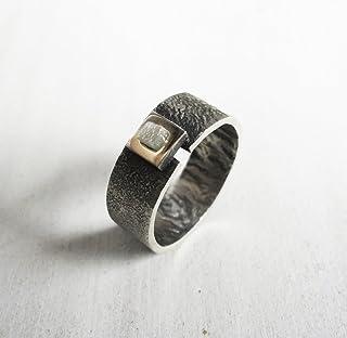 Anello con diamante grezzo, anello di fidanzamento, argento strutturato.