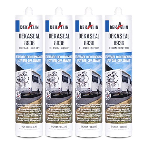 Dekalin Dichtstoff 4x 290 ml, hellgrau für Rahmen, Abläufe oder Wohnwagen und Wohnmobil Luken