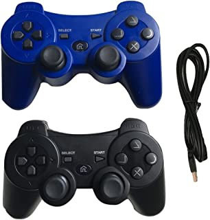 Ps3 Controller Wireless with Charger Cable - 2 Pack Dual Vibration (Blue and Black - Compatible with Playstation 3 PS3) by IHK