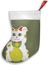 Voxpkrs Lucky Cat Christmas Green Calcetines navideños de Calcetines navideños para Decoraciones de Fiestas Familiares Regalo