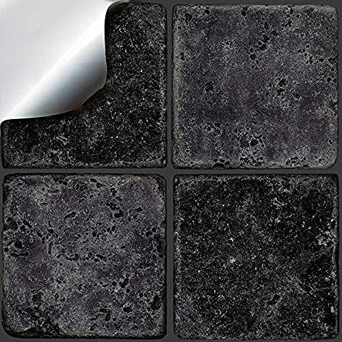 """Piedra gris - 24 etiquetas adhesivas impresas en 2D para azulejos de cocina/baño para azulejos cuadrados de 100 mm (4\"""") - Directo desde: (24 por paquete) a 4\"""" x4\""""- 24_Paquete de piedra negra"""