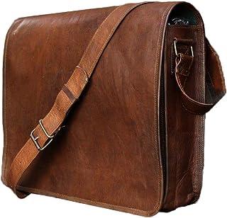 Madosh خمر اليدوية من الجلد الأصلي حقيبة كروسبودي رفرف على حقيبة كتف للرجال بني