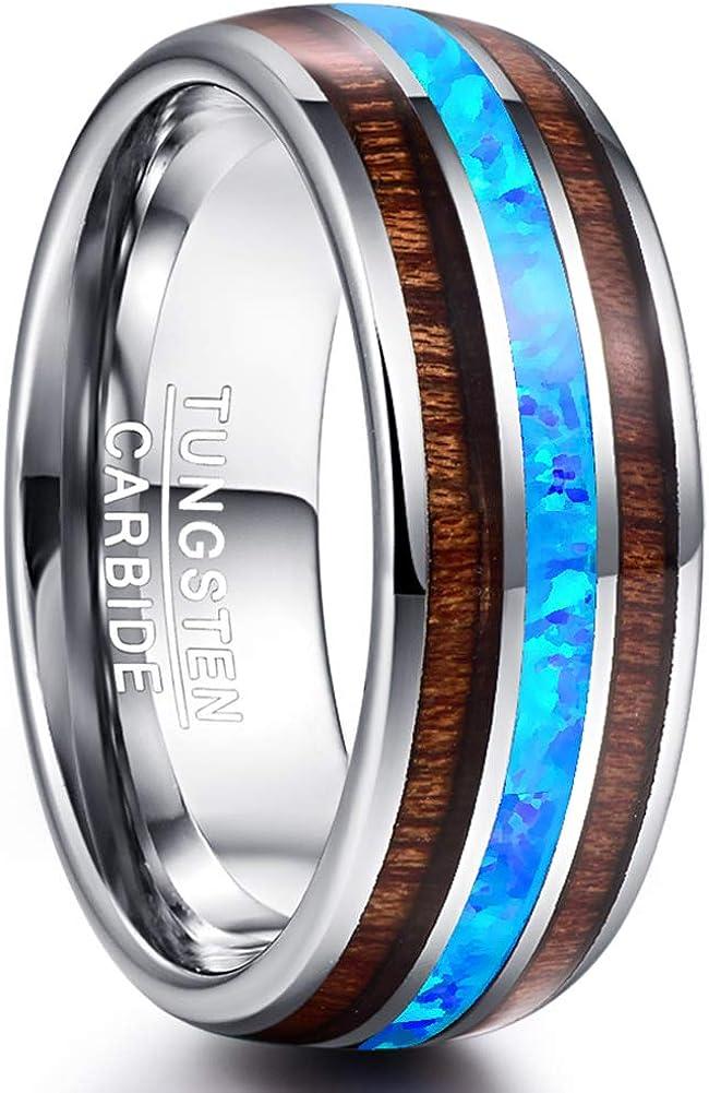 Vakki 6mm 8mm Hawaiian Koa Wood Tungsten Rings for Men Women Blue Created-Opal Wedding Band Dome Style Comfort Fit Size 6-14