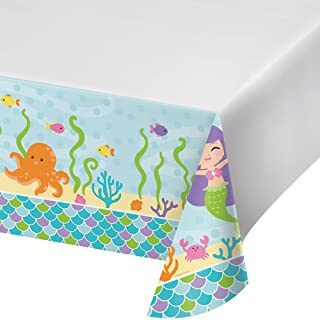 Creative Converting Border Print Plastic Tablecover, 54 X 102, Mermaid Friends