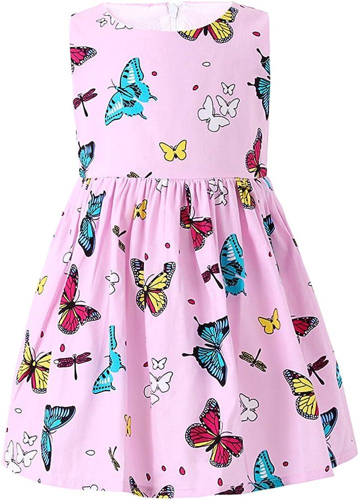 SMILING PINKER Little Girls trust Dresses Swing Large special price Sleevele Cotton Summer