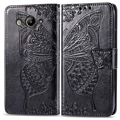 Hülle für Huawei Y3 2018/Y3 2017 Hülle Handyhülle [Standfunktion] [Kartenfach] Tasche Flip Case Cover Etui Schutzhülle lederhülle klapphülle für Huawei Y3 2018 - DESD020738 Schwarz