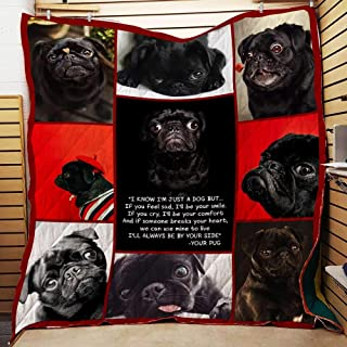 Pug I Love You Quilt P230 PD, Queen All-Season Quilts Comforters with Reversible Cotton King/Queen/Twin Size - Best Decorative Quilts-Unique Quilted for Gifts
