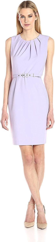 NINE WEST Women's Stretch Crepe Belted Dress